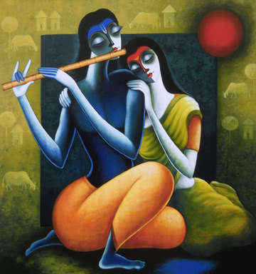 Figurative Acrylic Art Painting title 'Rhythm Of Love II' by artist Santosh Chattopadhyay