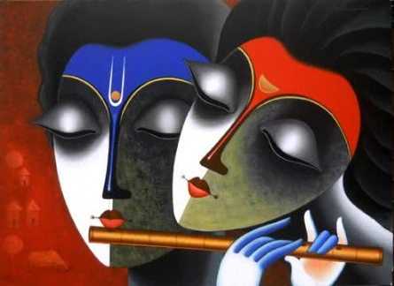 Figurative Acrylic Art Painting title 'Couple in love of music' by artist Santosh Chattopadhyay