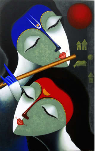 Santosh Chattopadhyay | Acrylic Painting title Rhythm Of Love V on Canvas | Artist Santosh Chattopadhyay Gallery | ArtZolo.com