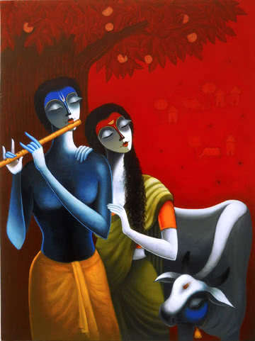 Figurative Acrylic Art Painting title 'The Family Of Krishna' by artist Santosh Chattopadhyay