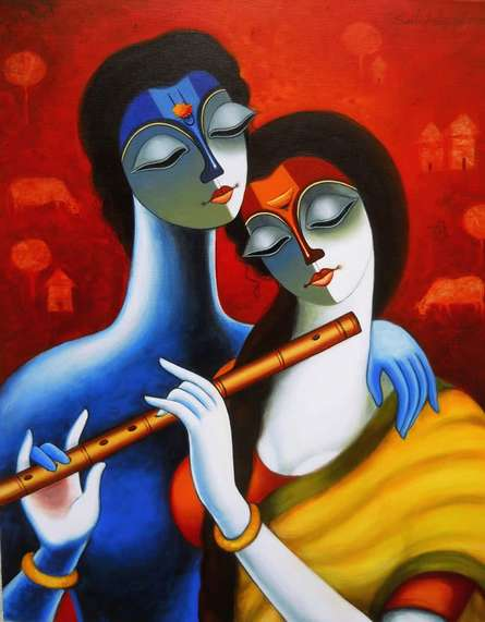 Figurative Acrylic Art Painting title 'Harmony' by artist Santosh Chattopadhyay