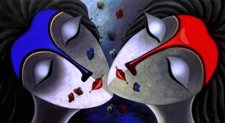 Santosh Chattopadhyay | Acrylic Painting title Harmony on Canvas | Artist Santosh Chattopadhyay Gallery | ArtZolo.com