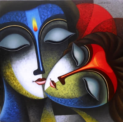 Religious Acrylic Art Painting title 'Iternal Love' by artist Santosh Chattopadhyay