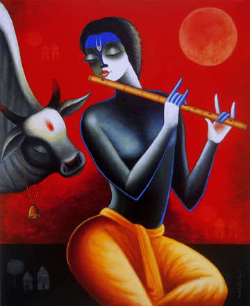 Krishna With His Friend | Painting by artist Santosh Chattopadhyay | acrylic | Canvas