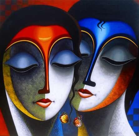Santosh Chattopadhyay | Acrylic Painting title Relation 2 on Canvas | Artist Santosh Chattopadhyay Gallery | ArtZolo.com