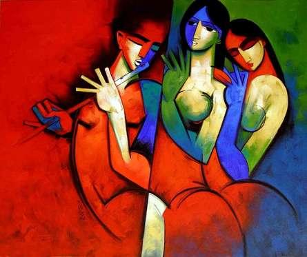 Rthym In Red | Painting by artist Arvind Kolapkar | acrylic | Canvas
