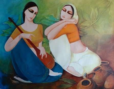Figurative Acrylic Art Painting title 'Saheli' by artist Kamal Devnath
