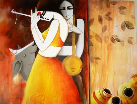Sakhi | Painting by artist Kamal Nath | acrylic | Canvas