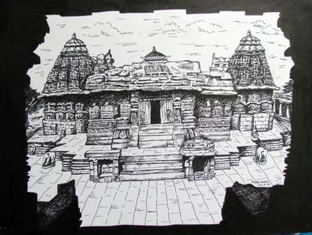 Cityscape Ink Art Drawing title Temple by artist Rajendra V