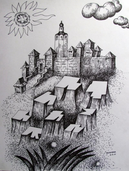 Cityscape Ink Art Drawing title 'Fort' by artist Rajendra V