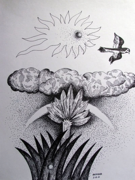 Dusk   Drawing by artist Rajendra V      ink   Ivory Paper