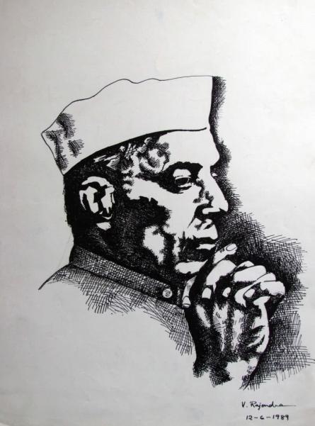 Pandit Nehru   Drawing by artist Rajendra V      ink   Paper