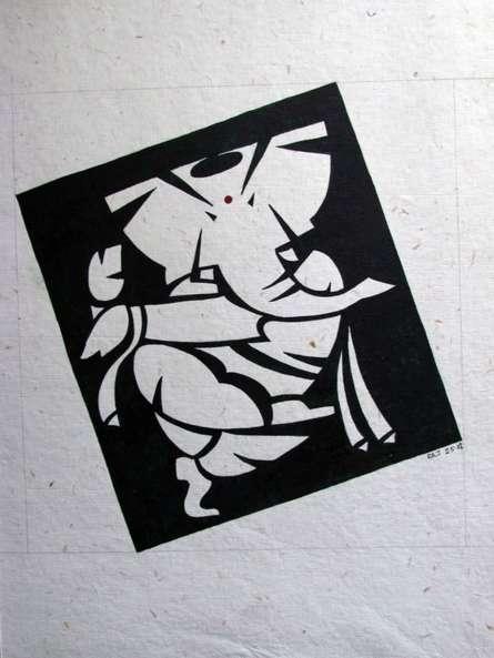 Ganesh | Painting by artist Rajendra V | watercolor | Handmade Paper
