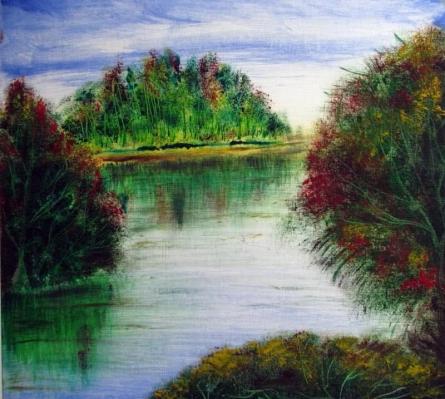 Landscape Oil Art Painting title Riverside by artist Rajendra V