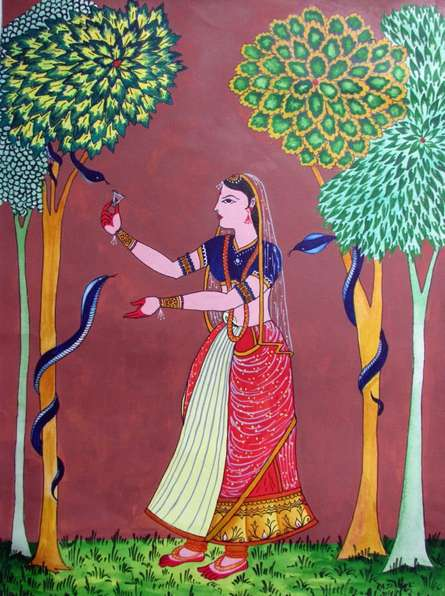 Lady feeding snakes | Painting by artist Rajendra V | watercolor | Paper