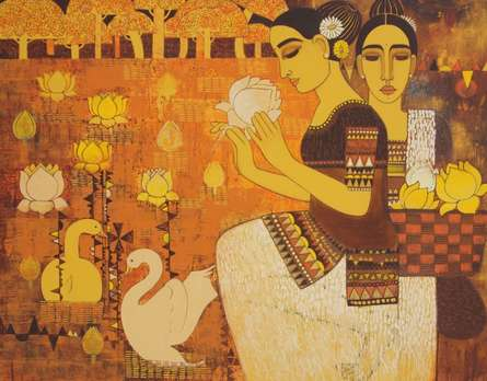 Lady With Lotus Ii | Painting by artist Mamta Mondkar | acrylic | Canvas