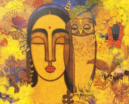 Figurative Acrylic Art Painting title Lady With Owl by artist Mamta Mondkar