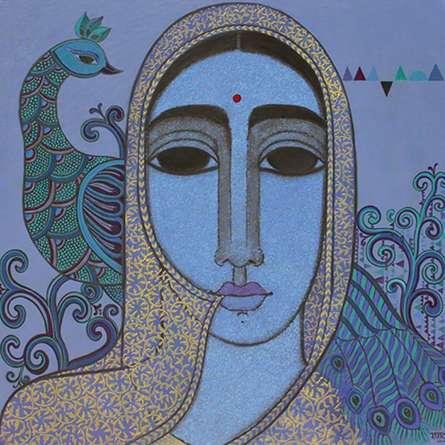 Figurative Acrylic Art Painting title Towards Tradition by artist Mamta Mondkar