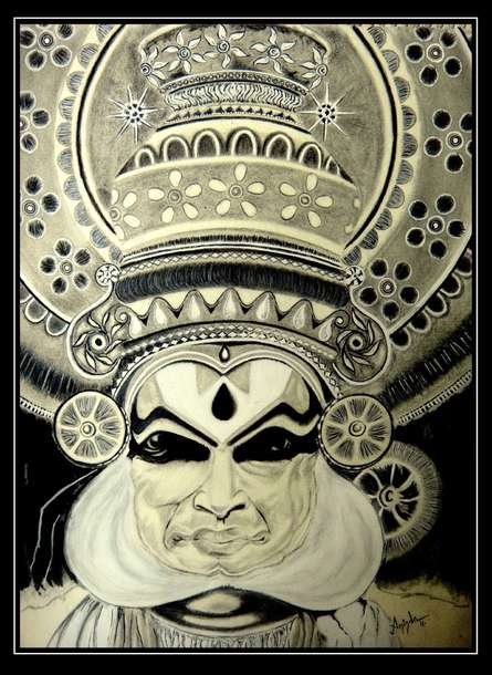 Charcoal Paintings | Drawing title Kathakali on Paper | Artist Aninda Dey