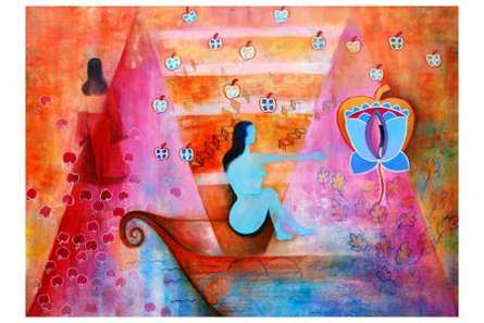 Poonam Agarwal | Mixed-media Painting title Desire Of Transformation on Canvas | Artist Poonam Agarwal Gallery | ArtZolo.com