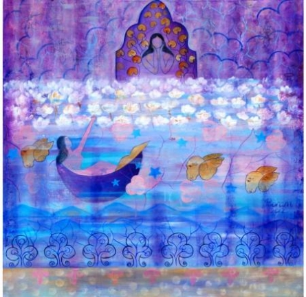 Figurative Mixed-media Art Painting title Reflection by artist Poonam Agarwal