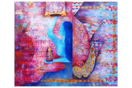 Figurative Mixed-media Art Painting title 'The Blessing' by artist Poonam Agarwal