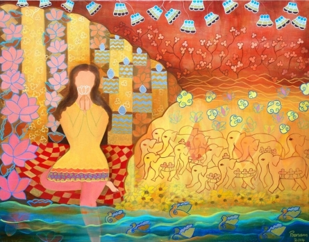 Figurative Mixed-media Art Painting title 'And The Beings Unite' by artist Poonam Agarwal
