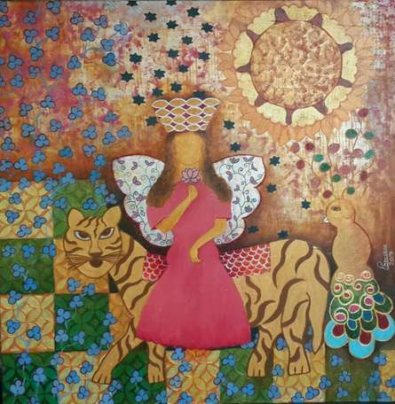 Figurative Mixed-media Art Painting title 'Empowerment' by artist Poonam Agarwal