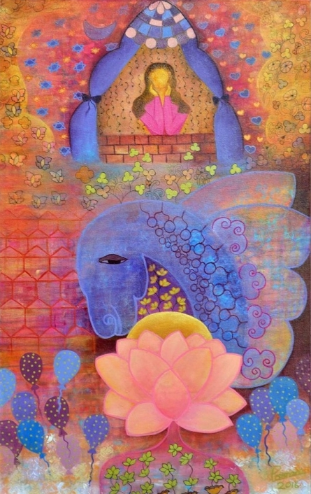 Poonam Agarwal | Mixed-media Painting title The Calling I on Canvas | Artist Poonam Agarwal Gallery | ArtZolo.com
