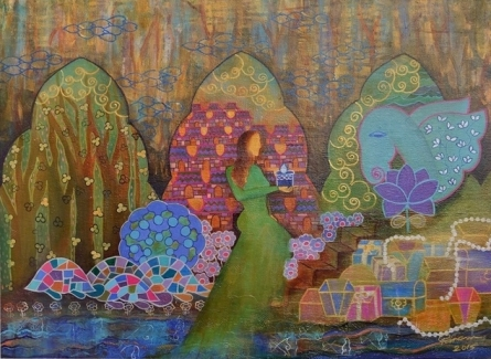 Figurative Mixed-media Art Painting title 'The Gifts' by artist Poonam Agarwal