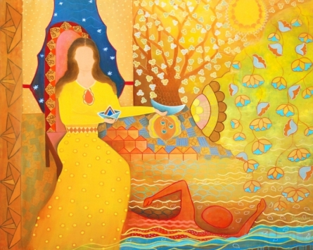 Poonam Agarwal | Mixed-media Painting title The Journey on Canvas | Artist Poonam Agarwal Gallery | ArtZolo.com