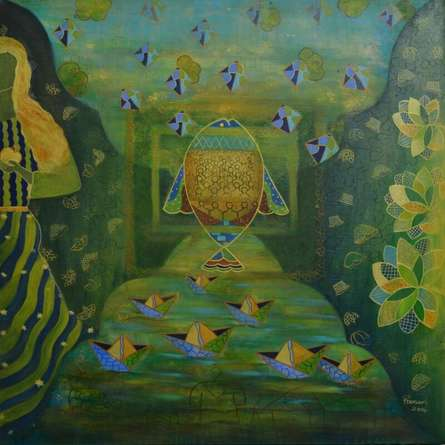 Abstract Acrylic Art Painting title 'The Secret Self Ii' by artist Poonam Agarwal
