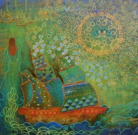 contemporary Mixed-media Art Painting title 'The Voyage' by artist Poonam Agarwal
