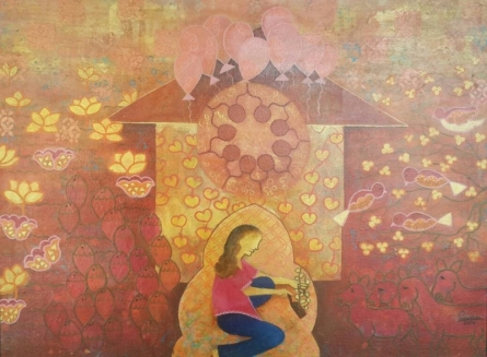 Figurative Mixed-media Art Painting title 'Towards Oneness 1' by artist Poonam Agarwal