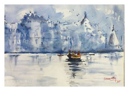 Landscape Watercolor Art Painting title 'Banaras The holy place' by artist Soven Roy