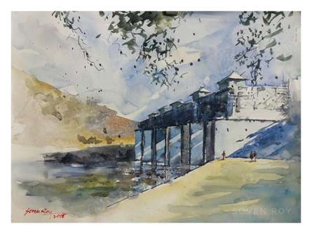 Bridge Under Construction | Painting by artist Soven Roy | watercolor | Paper