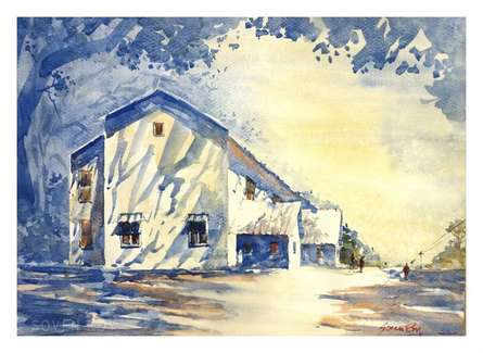 Landscape Watercolor Art Painting title 'Building At Agriculture University Pune' by artist Soven Roy