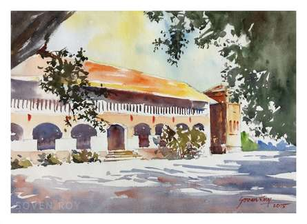 Landscape Watercolor Art Painting title 'Building From Agriculture University Pune' by artist Soven Roy