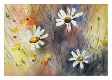 Landscape Watercolor Art Painting title 'Flowers 2' by artist Soven Roy