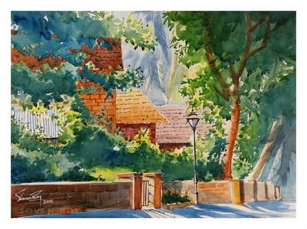 Home Among Trees | Painting by artist Soven Roy | watercolor | Paper