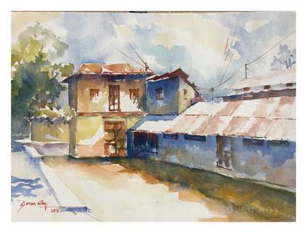 House At Wai-2 | Painting by artist Soven Roy | Watercolor | Paper