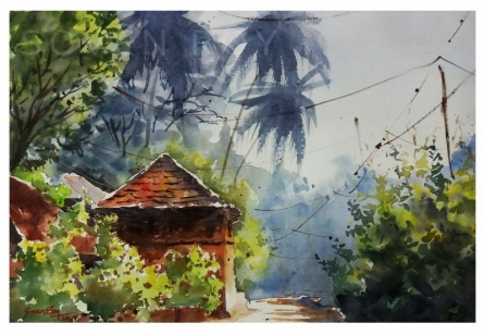 Soven Roy | Watercolor Painting title Afternoon in Harnai Village on Handmade Paper | Artist Soven Roy Gallery | ArtZolo.com