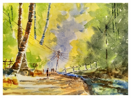 Soven Roy   Watercolor Painting title Konkan Morning on Handmade Paper