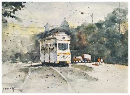 Busy Kolkata 1 | Painting by artist Soven Roy | watercolor | Handmade Paper