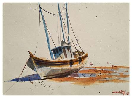 Other Watercolor Art Painting title 'Lonely Boat' by artist Soven Roy