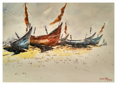 Landscape Watercolor Art Painting title 'Goa Boats' by artist Soven Roy