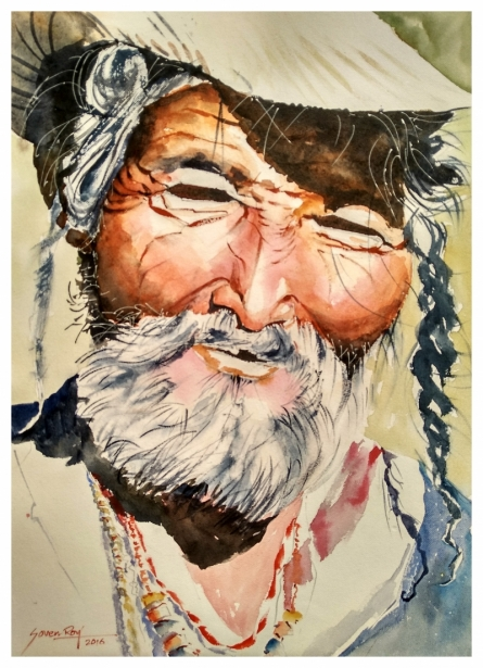 Soven Roy | Watercolor Painting title Old Man on Handmade paper | Artist Soven Roy Gallery | ArtZolo.com