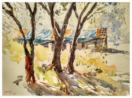 Landscape Watercolor Art Painting title 'House among trees' by artist Soven Roy