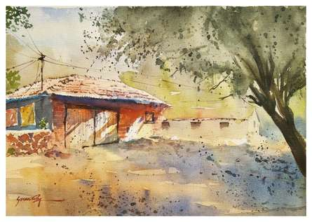 Soven Roy | Watercolor Painting title Orange Hut on Handmade paper | Artist Soven Roy Gallery | ArtZolo.com