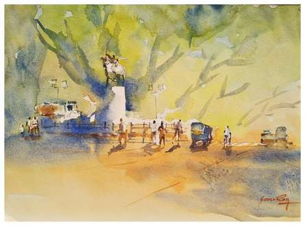 Fine morning at JM Road Pune | Painting by artist Soven Roy | watercolor | Handmade Paper